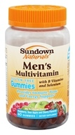 Sundown Naturals - Men's Multivitamin Gluten-Free Gummies with B Vitamins and Selenium Raspberry, Sour Apple and Cherry - 60 Gummies