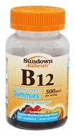 Sundown Naturals - Vitamin B12 Gluten-Free Gummies Raspberry, Mixed Berry and Orange 500 mcg. - 50 Gummies