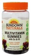 Sundown Naturals - Active Adult Multivitamin Gluten-Free Gummies with Co Q-10 Cherry and Grape - 60 Gummies