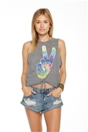 California Peace Tie Front Muscle Tank Top Streaky Grey - Extra Small