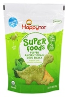 HappyFamily - HappyTot Organic Super Foods Puffed Ancient Grain Dino Snack Kale, Spinach & Cheddar - 1.48 oz.