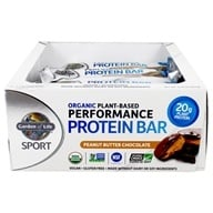 Garden of Life - Sport Organic Plant-Based Performance Protein Bars Peanut Butter Chocolate - 12 Bars