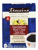 Teeccino - Chicory Herbal Tea 85% Organic Dandelion Red Chai - 10 Tea Bags