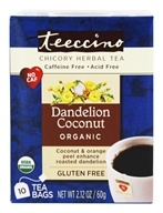 Teeccino - Chicory Herbal Tea Organic Dandelion Coconut - 10 Tea Bags