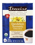 Teeccino - Chicory Herbal Tea Organic Dandelion Turmeric - 10 Tea Bags