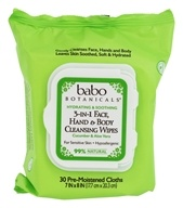 Babo Botanicals - 3 In 1 Face, Hand & Body Cleansing Wipes Cucumber & Aloe Vera - 30 Cloth(s)