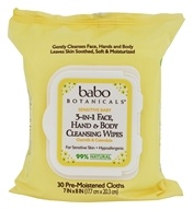 Babo Botanicals - 3 In 1 Face, Hand & Body Cleansing Wipes Oatmilk & Calendula - 30 Cloth(s)