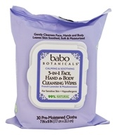 Babo Botanicals - 3 In 1 Face, Hand & Body Cleansing Wipes French Lavender & Meadowsweet - 30 Cloth(s)