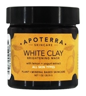 Apoterra Skincare - White Clay Brightening Mask with Lemon + Yogurt Extract - 1 oz.