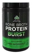 Ancient Nutrition - Bone Broth Protein Burst Pre-Workout Apple Greens - 12.9 oz.
