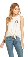 Star Tie Front Muscle Tank White - Small