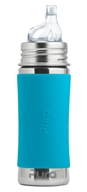 Pura - Stainless Steel Toddler Sippy Bottle Aqua Sleeve - 11 oz.