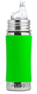 Pura - Stainless Steel Toddler Sippy Bottle Green Sleeve - 11 oz.