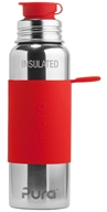 Pura - Stainless Steel Vacuum Insulated Sport Bottle Red Sleeve - 22 oz.