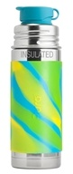 Pura - Stainless Steel Vacuum Insulated Sport Jr. Bottle Aqua Swirl Sleeve - 9 oz.