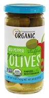 Organic Stuffed Green Olives Red Peppers - 8 oz.