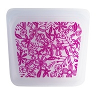 Reusable Silicone Sandwich Storage Bag Floral Magenta - 15 oz. by Stasher
