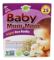 Baby Mum Mum Organic Rice Rusks Teething Snacks Original - 24 Count