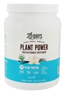 22 Days Nutrition - Plant Power Protein Powder Supplement 15 Servings Vanilla - 14.81 oz.