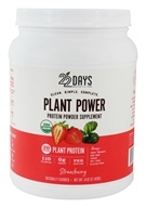 22 Days Nutrition - Plant Power Protein Powder Supplement 15 Servings Strawberry - 14.81 oz.