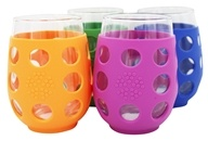 Large Stemless Wine Glasses With Silicone Sleeve Set of 4 Variety - 17 fl. oz. by Lifefactory