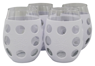 Small Stemless Wine Glasses With Silicone Sleeve Set of 4 Optic White - 11 fl. oz. by Lifefactory