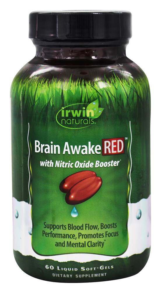 Irwin Naturals - Brain Awake RED with Nitric Oxide Booster - 60 Liquid Softgels