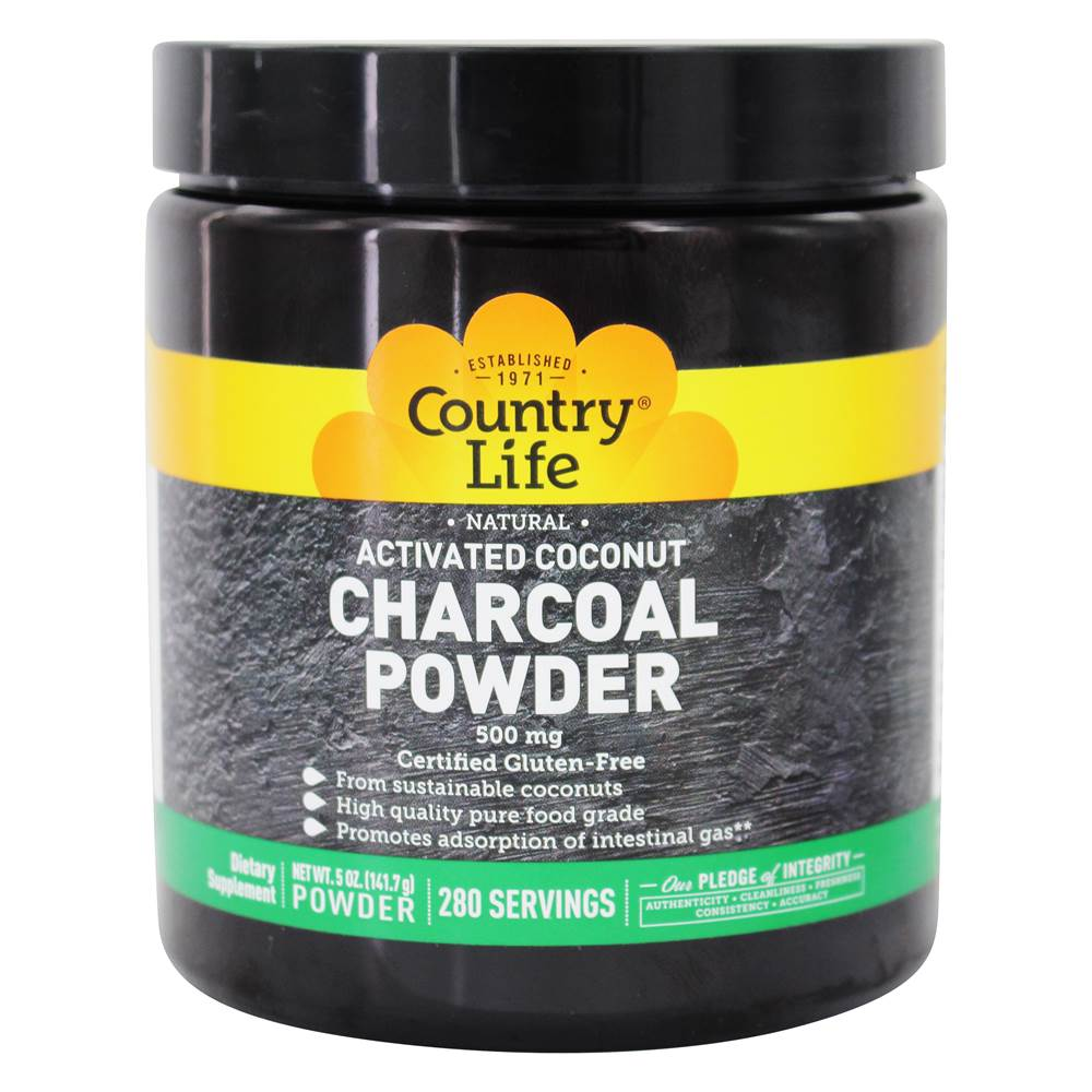 Country Life - Natural Activated Coconut Charcoal Powder 500 mg. - 5 oz.