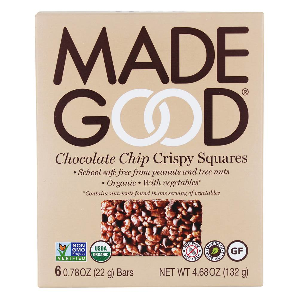 Organic Crispy Squares Chocolate Chip - 6 Bars by Made Good