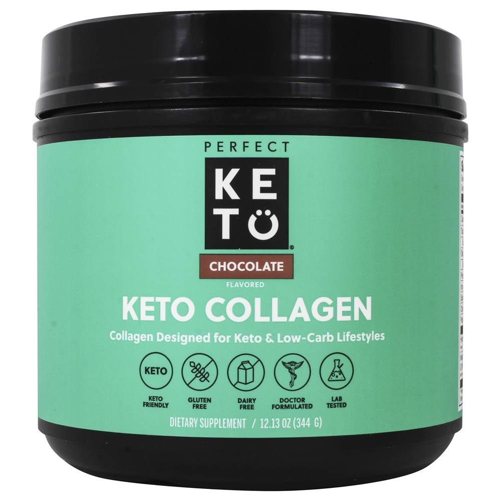 Keto Collagen Ketone Protein Source Powder Chocolate - 12 oz. by Perfect Keto