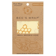 Reusable Food Wraps Assorted Sizes Small, Medium & Large Honeycomb Print - 3 Pack by Bee's Wrap