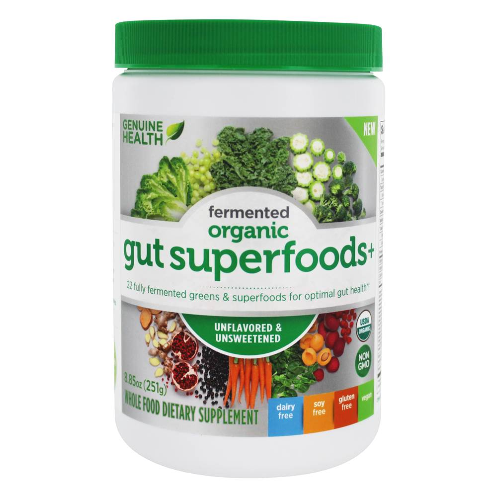 Genuine Health - Organic Fermented Gut Superfoods+ Powder for Optimal Gut Health Unflavored & Unsweetened - 8.85 oz.