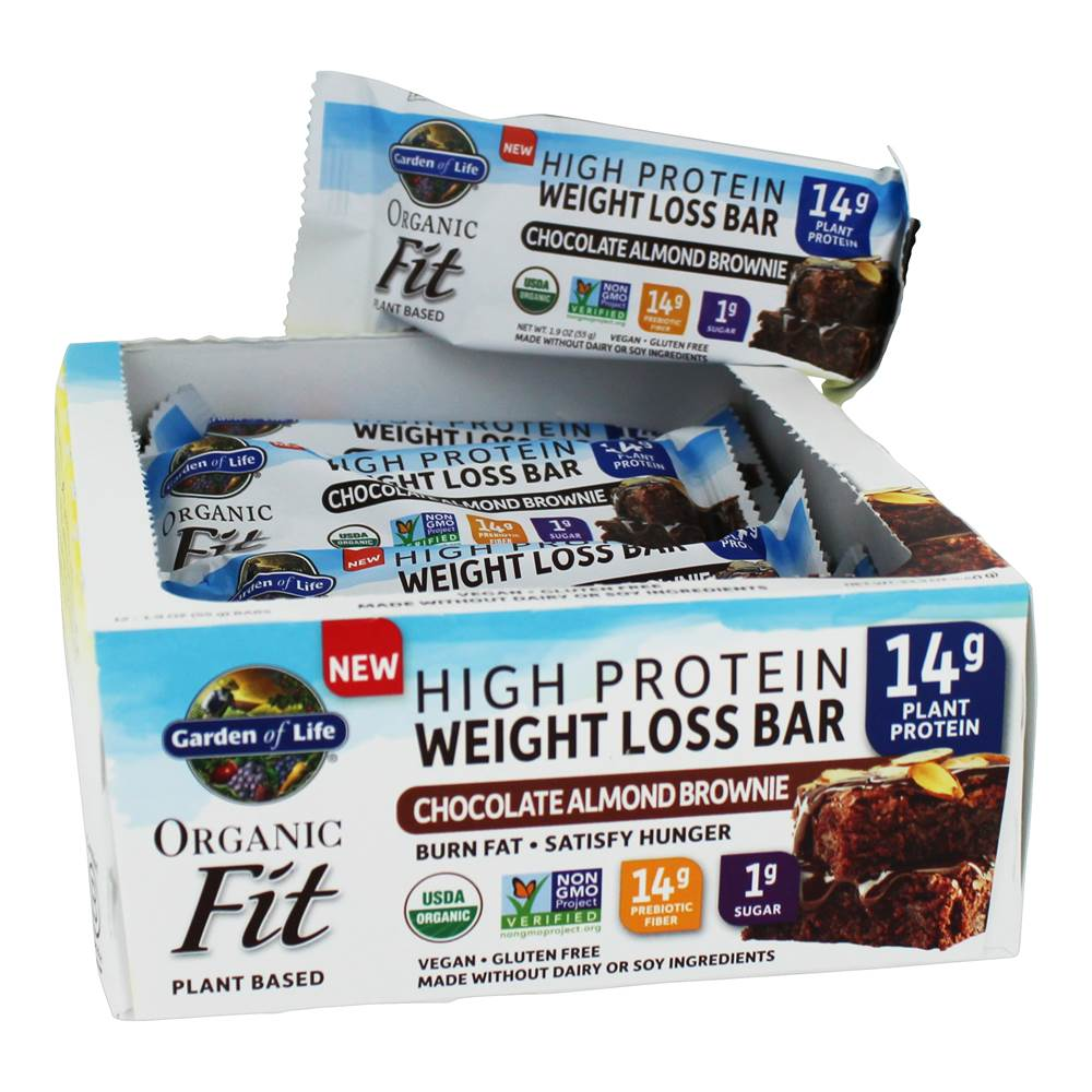 Organic Fit High Protein Weight Loss Bars Chocolate Almond Brownie - 12 Bars