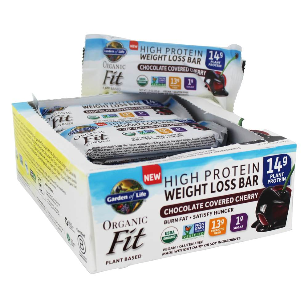 Organic Fit High Protein Weight Loss Bars Chocolate Covered Cherry - 12 Bars