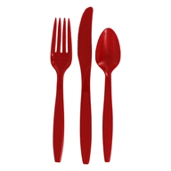 Recycled Plastic Heavy Duty Cutlery Set Pepper Red - 24 Piece(s) by Preserve