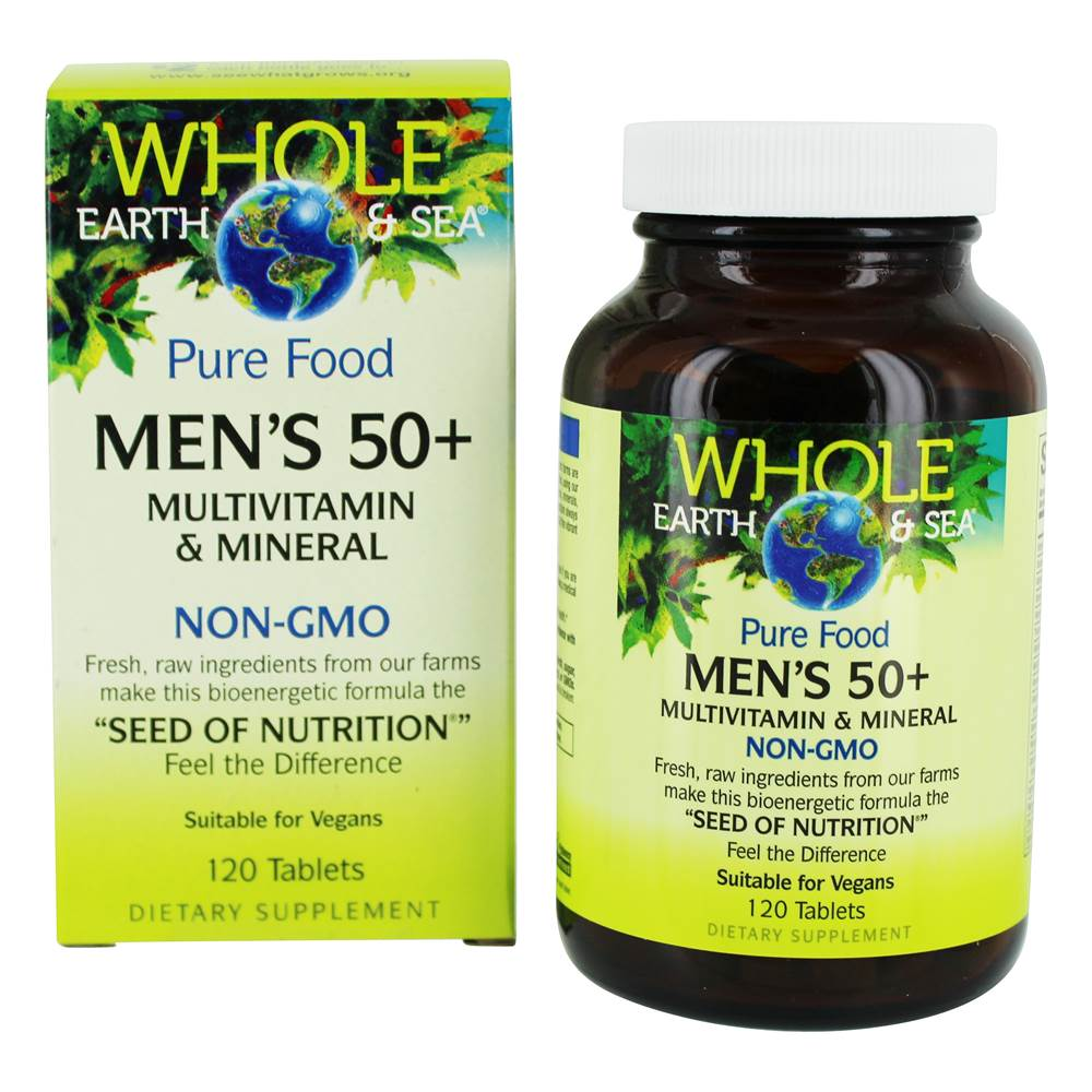 Pure Food Men's 50+ Multivitamin & Mineral - 120 Tablets by Whole Earth & Sea