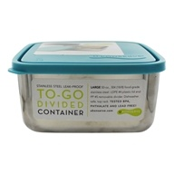Stainless Steel Besar Square To-Go Divided Container dengan Leak Proof Lid Sky Blue - 50 oz. by U Konserve