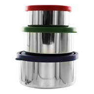 Stainless Steel Nesting Trio Round Containers with Leak Proof Lids Ocean Blue, Green & Red - 3 Pack