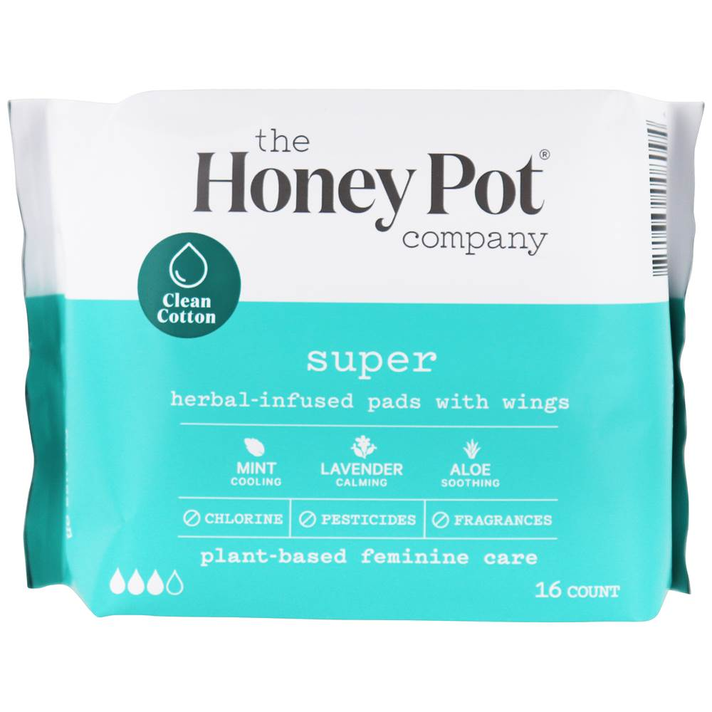 Herbal-Infused Menstrual Pads with Wings Super - 16 Pad(s) by The Honey Pot Company