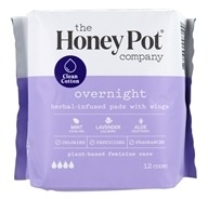 Herbal-Infused Menstrual Pads with Wings Overnight - 12 Pad(s) by The Honey Pot Company