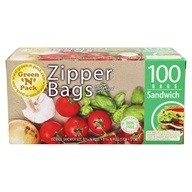 Zipper Sandwich Bags - 100 Bags by Green 'N' Pack Eco Friendly Bags