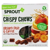 Organic Crispy Chews Toddler Fruit Snack with Whole Grains Orchard Fruit & Carrot with Crispy Brown Rice - 5 Count by Sprout