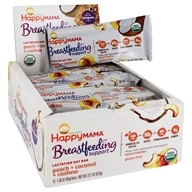 Happy Mama Organic Breastfeeding Support Lactation Oat Bar Peach + Coconut + Cashew - 15 Bars