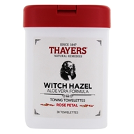 Witch Hazel Aloe Vera Formula Toning Towelettes Rose Petal - 30 Towelette(s) by Thayers