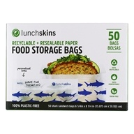 Recyclable + Resealable Paper Food Storage Bags Shark Design - 50 Bags by LunchSkins