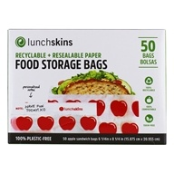 Recyclable + Resealable Paper Food Storage Bags Apple Design - 50 Bags by LunchSkins