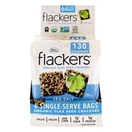 Flackers Organic Flax Seed Crackers Box Sea Salt - 6 Bags by Doctor in the Kitchen