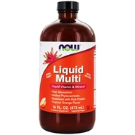 NOW Foods - Liquid Multi Liquid Vitamin & Mineral - Iron Free with Xylitol Tropical Orange Flavor - 16 oz. (733739037725)