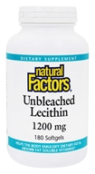 Natural Factors - Lecithin Unbleached 1200 mg. - 180 Softgels, from category: Nutritional Supplements
