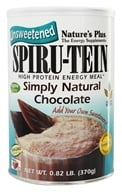 Image of Nature's Plus - Spiru-Tein UNSWEETENED High Protein Energy Meal Simply Natural Chocolate - 0.82 lbs.